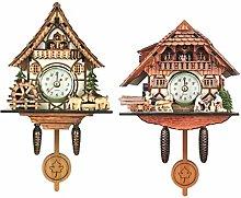 Baoblaze 2x Vintage Cuckoo Clock Wall Clock Wood