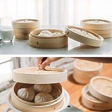 Baoblaze Bamboo Steamer Basket Round 15/18 / 20cm