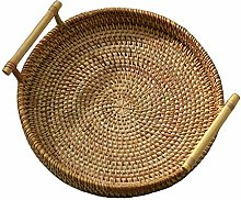 Baoblaze Rattan Round Bread Serving Basket