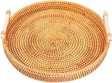 Baoblaze Round Rattan Basket Rustic Style