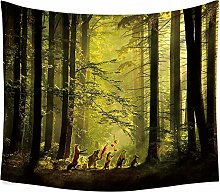 BAOFUFU Tapestry,Green Forest Animal Landscape