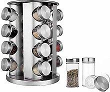 BaoWnylz Stainless Steel Spice Rack, 16 Jar Glass