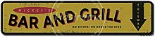 Bar And Grill Tin Wall Sign Metal Plaque Poster