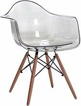 Bar Chair Transparent Armrest Dining Chair Simple