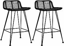 Bar Chairs 2 pcs Black Rattan