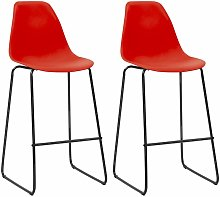 Bar Chairs 2 pcs Red Plastic - Red
