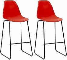 Bar Chairs 2 pcs Red Plastic