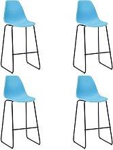 Bar Chairs 4 pcs Blue Plastic - Blue