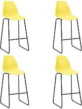 Bar Chairs 4 pcs Yellow Plastic