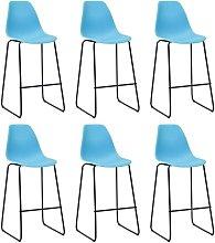 Bar Chairs 6 pcs Blue Plastic VD21818 - Hommoo