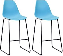 Bar Chairs Plastic 2 pcs Blue - Blue - Vidaxl