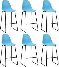 Bar Chairs Plastic 6 pcs Blue - Blue - Vidaxl