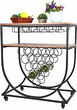 Bar Serving Cart Table Kitchen Wine Storage Cart