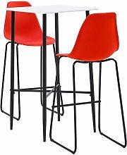 Bar Set Plastic Red 3 Piece - Red - Vidaxl