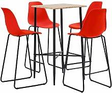 Bar Set Plastic Red 5 Piece - Red - Vidaxl