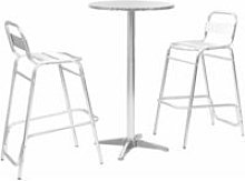 Bar Set with Round Table Silver Aluminium