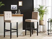 Bar Stool Beige Fabric Upholstery Black Legs Retro