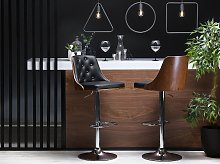 Bar Stool Black Faux Leather with Dark Wood Tufted