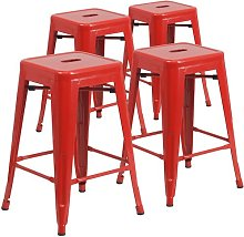 Bar Stool Blue Elephant Colour: Red, Seat Height: