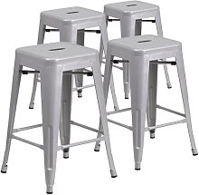 Bar Stool Blue Elephant Colour: Silver, Seat