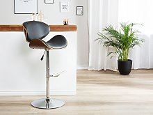 Bar Stool Dark Wood with Black Faux Leather