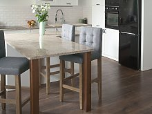 Bar Stool Grey Upholstered Fabric Kitchen Dining Room Modern Button Tufted