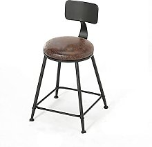 BAR STOOL Industrial stool chair with back leather