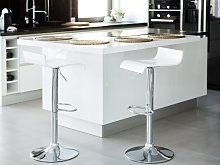 Bar Stool White with Footstool Swivel Gas Lift