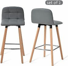 Bar Stools Set of 2 with Back Rest Faux Leather