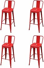 Bar Stools Steel 4 pcs Red