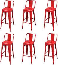 Bar Stools Steel 6 pcs Red - Red - Vidaxl