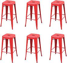 Bar Stools Steel 6 pcs Red