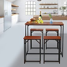 Bar Table and 4 Stools Set Breakfast Dining Table