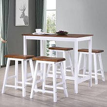 Bar Table and Stool Set 5 Pieces Solid Wood -