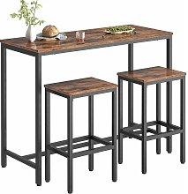 Bar Table and Stools Set, 120 cm Breakfast Bar