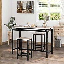 Bar Table Set, Bar Table with 2 Bar Stools,