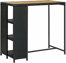 Bar Table with Storage Rack Black 120x60x110 cm
