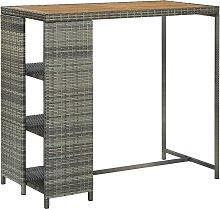 Bar Table with Storage Rack Grey 120x60x110 cm