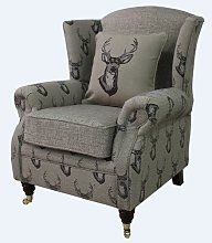 Barbara Antler Stag Wingback Chair Union Rustic