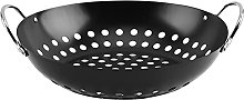 Barbecue Grill Basket with Handle, Round BBQ Pan