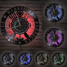 Barbecue theme decoration wall clock grill