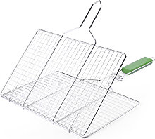 Barbecue tool, silver + green, flat stainless