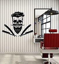 Barber Barber Shop Shaving Skull Beard Vinyl Wall