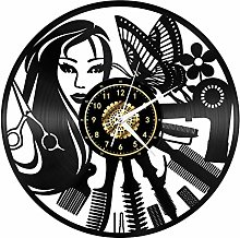 Barber Shop Hairdresser Vinyl Record Wall Clock