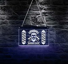 Barber Shop Rectangle Acrylic Led Neon Sign Board