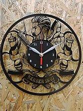 Barber Shop Vinyl Record Wall Clock Decor Handmade