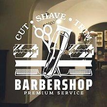 Barbershop Logo Wall Sticker Haircut Scissors
