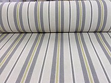 Barclay Stripe Grey Cotton Curtain Fabric Designer