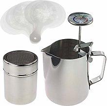Barista Kit Includes Milk Thermometer, 600ml Milk