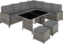 Barletta Rattan Garden Furniture Set - grey/beige